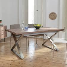 Crossed Leg Walnut Extending Dining Table Brushed Steel