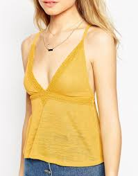 asos cami top with cotton lace trim in yellow lyst