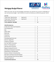 Monthly Mortgage Budget Planner Template