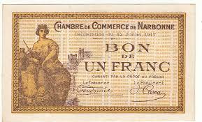 chambre de commerce 12 1 franc 12 juil 1917 chambre de commerce narbonne specimen pirot