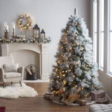 Narrow Christmas Tree With Lights Fresh Decor Ideas 7 5 Ft Classic Flocked Needle Full Pre Lit