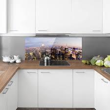 spritzschutz glas new york skyline bei nacht panorama quer größe hxb 40cm x 100cm