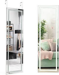 costway wandspiegel mit touchscreen und beleuchtung in 3 farben led ganzkörperspiegel mit 2 installationsmethoden hängespiegel 37 x 120cm spiegel