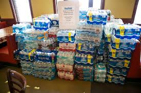 Bottled Water Donations At Metro Pizza Located 6720 Sky Pointe Drive During Their Bottle