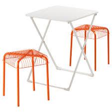 Runnen Floor Decking Uk by Härö Västerön Table And 2 Stools Outdoor White Orange Ikea