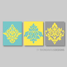 Yellow And Gray Bathroom Decor by Teal Blue Yellow Gray French Damask Print Trio Home