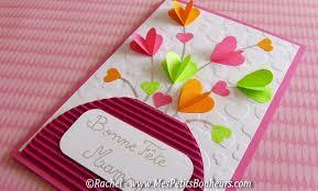 carte a faire soi meme bricolage carte bouquets de coeurs pour la fête des mères