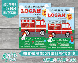 Fire Truck Themed Birthday Party Invitations Free Printable ...