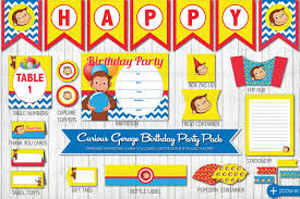 Curious George Toddler Bedding by Curious George Birthday Party Printable Party Pack Birthday