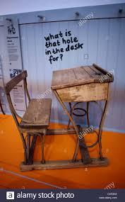 London, U.K., Old Wooden School Chair Desk On Display Inside