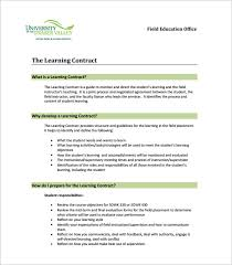 Example Learning Contract Template Download