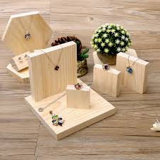 Lot Of 5 Square Shape Solid Wood Jewellery Display Block Nature Jewelry Holder