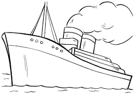 Free Colouring Sheets Transportation Boat For Kids Boys
