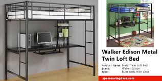 Space Saver Desk Workstation by Walker Edison Metal Twin Loft Bed With Workstation Review Space
