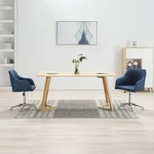 vidaxl esszimmerstühle drehbar 2 stk blau stoff gitoparts