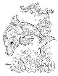 Dolphin Coloring Page Sheet Zentangle Doodles