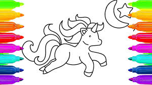 Unicorn Coloring Pages For Kids And How To Draw Horse