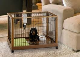 Dog In Richell Wood Mobile Crate Pet Pen