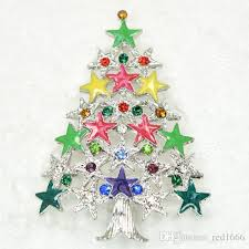2018 Wholesale Fashion Brooch Rhinestone Enamel Christmas Tree Pin Brooches Gift C101550 From Red1666 168