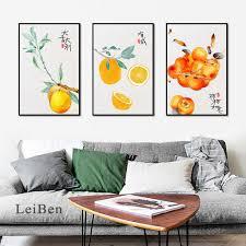 chinesischen stil aquarell ziehen günstigen obst illustration orange birne persimmon poster leinwand drucken wohnzimmer schlafzimmer decor