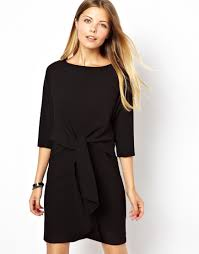 asos shift dress with tie waist in black lyst