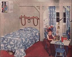 1949 Kids Bedroom This Bates Fabrics Ad Highlights The Popular Western Theme That Showed Up Regularly During And