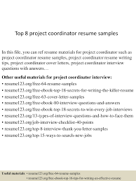 100 Project Coordinator Resume Top 8 Project Coordinator Resume Samples