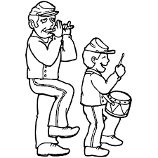 Drummer Boy And His Father Colouring Page Coloring