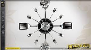 montre de cuisine horloge murale finition chrome avec dco couverts de cuisine beau