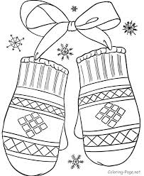 Print Out Winter Mittens Coloring Pages