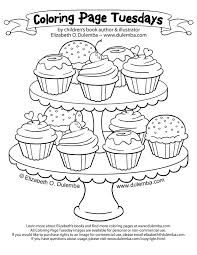 Cupcake Tiers Colouring Page