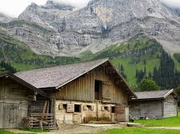 Cow Barn In Mountain Landscape Stock Image