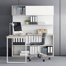 bibliothèque avec bureau intégré bureau en bois contemporain professionnel avec rangement