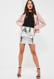 petite exclusive silver metallic faux leather mini skirt missguided