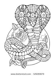 Cobra Snake Coloring Book For Adults Vector Illustration Anti Stress Adult