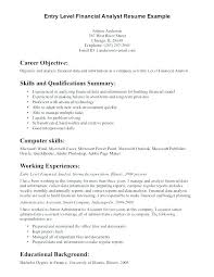 Information Technology Resume Sample Free Example Of For Financial Analyst Entry Level