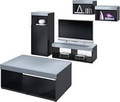 vladon wohnzimmer möbel set lowboard 2 wandregale schrank tisch korpus in schwarz matt oberböden und blenden in denim matt