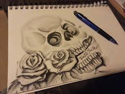 Skull And Roses Tattoo Drawing By CassandraWilson