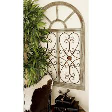 Rustic Brown Wood And Metal Arched Window Wall Decor