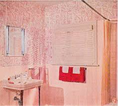 red on pink bathroom wallpaper c 1955 retro bathrooms pinterest