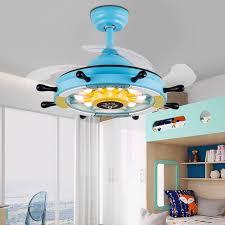 led unsichtbare deckenventilator lichter 36 zoll blau piratenschiff lenkrad einziehbare deckenventilator kronleuchter für wohnzimmer schlafzimmer