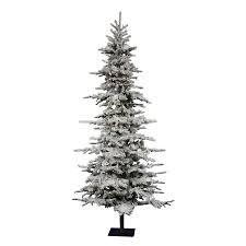 75 Slim Flocked Christmas Tree by 6 Ft Flocked Christmas Tree