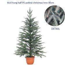 Potted Christmas Tree by Wall Hang 100 Pe Tips Half Potted Christmas Tree 90cm Hang On The