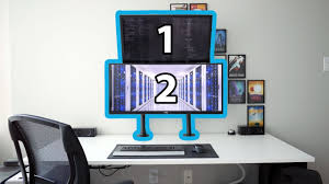 Desk Mount Monitor Arm Dual by Stacked Dual Monitors Using Vivo Arm Mounts Youtube