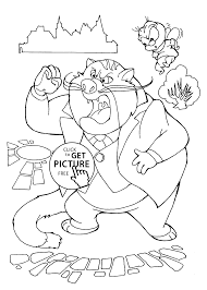 Chip And Dale Fat Cat Coloring Pages For Kids Printable Free