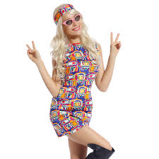 Retro Flower Go Dress Groovy Hippie Girl Fancy 60s 70s Hippy Costume