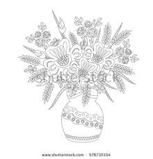Coloring Book For Adults And Children Fantasy Flowers In Vase Black White Vector
