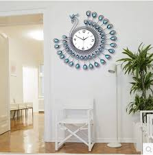 Sensational Ideas Living Room Wall Clocks Fashion Modern Design Clock Peacock