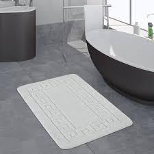 moderner badezimmer teppich bordüre badvorleger rutschfest badematte in weiß