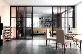 Living Room Door Modern Office Glass Sliding Partition Wall Doors Bq
